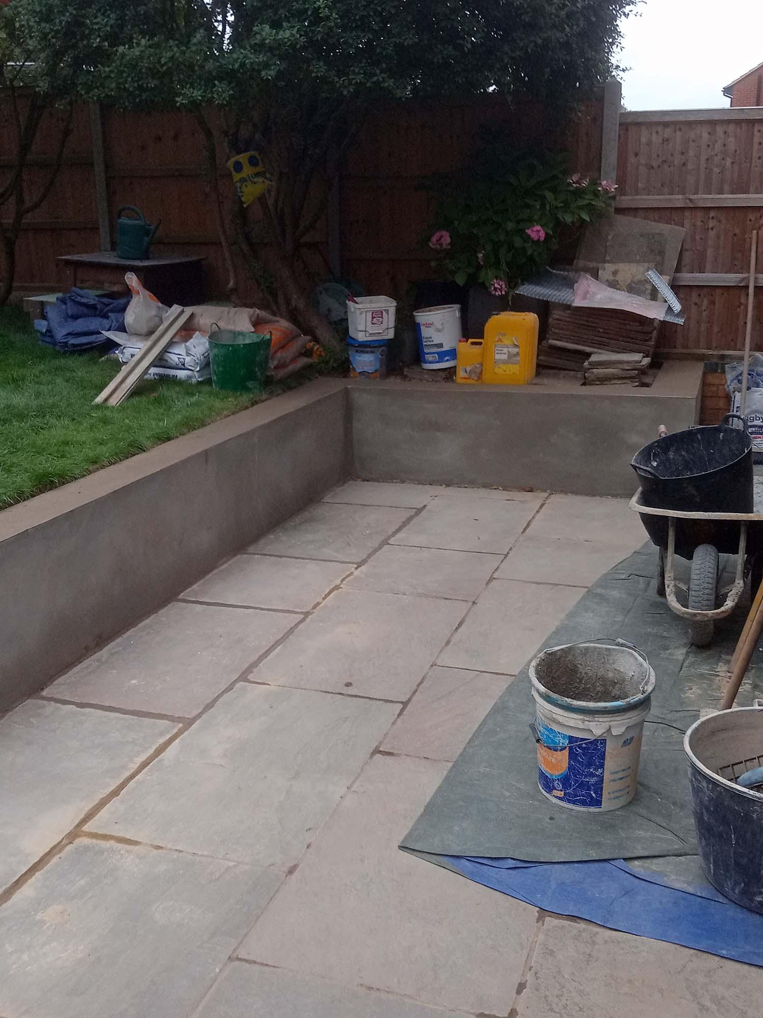 Plastering outdoor patio area